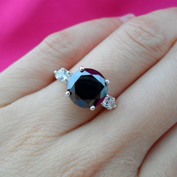 3 Carat Natural Black Diamond Sapphire Engagement by PLDjewelry 34999  My future wedding
