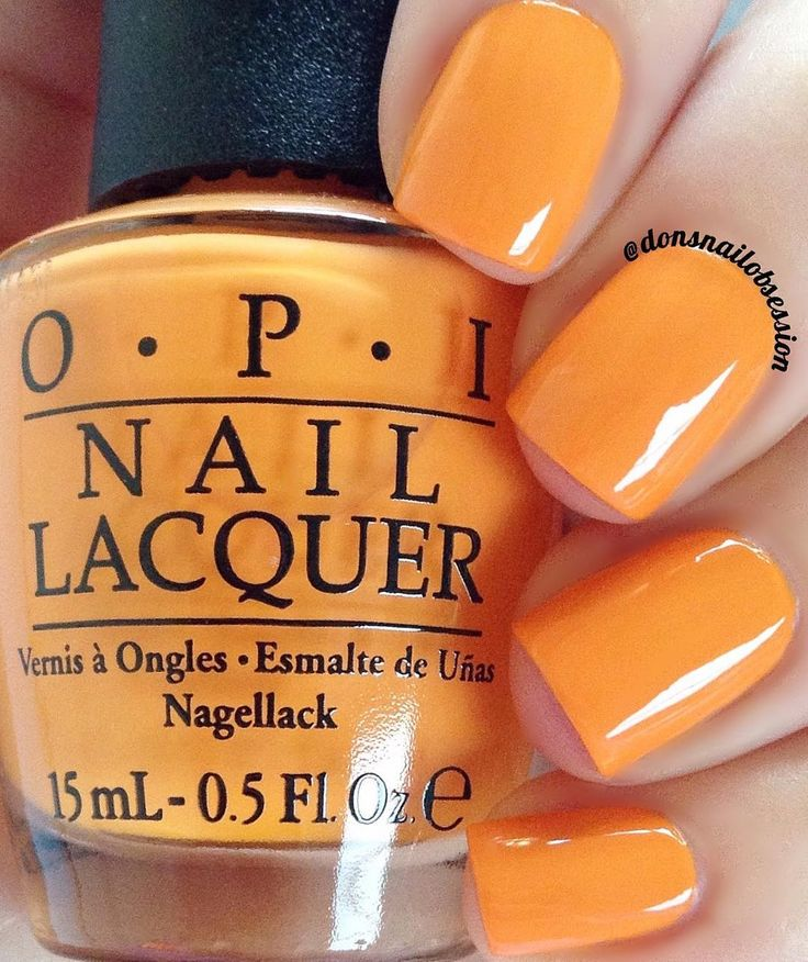 "OPI ""No Tan Lines"" a bright tangerine orange nail shade www.ScarlettAvery.com"