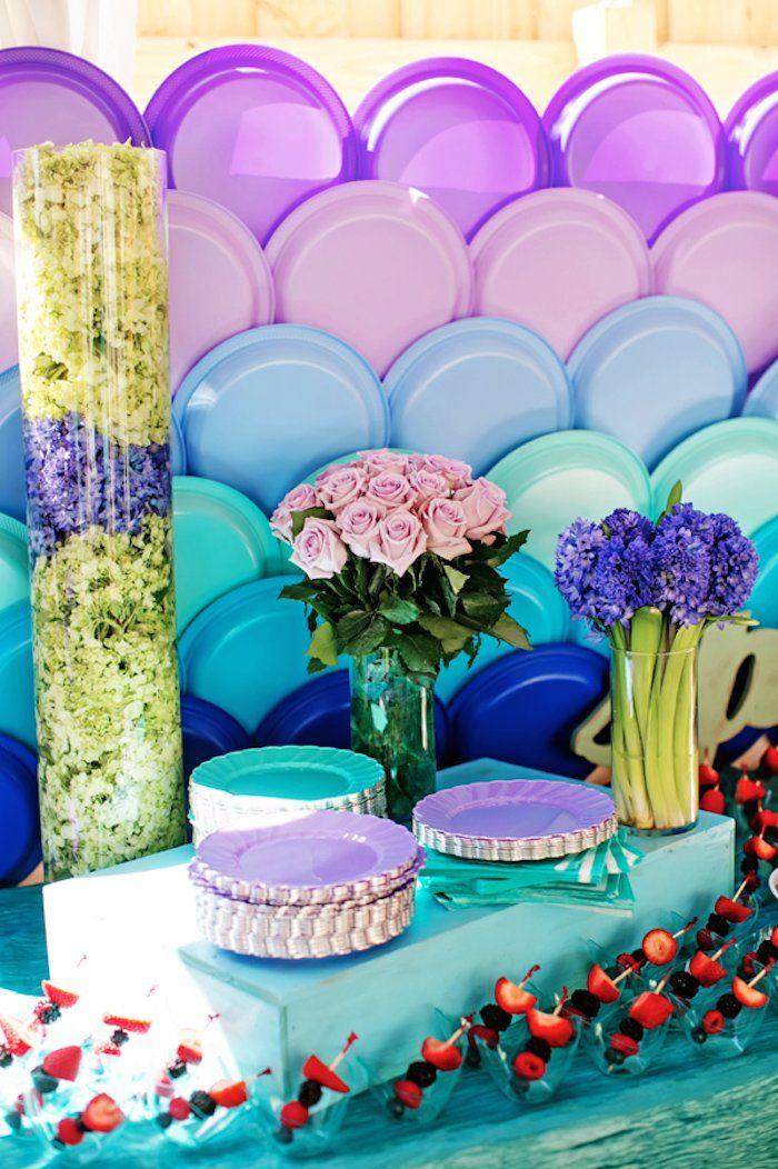 Splish Splash Mermaid Bash Birthday Party via Kara's Party Ideas KarasPartyIdeas.com Printables, decor, cake, favors, tutorials, cupcakes, and more! #mermaidparty #mermaidbash #mermaidcake #mermaid (55)