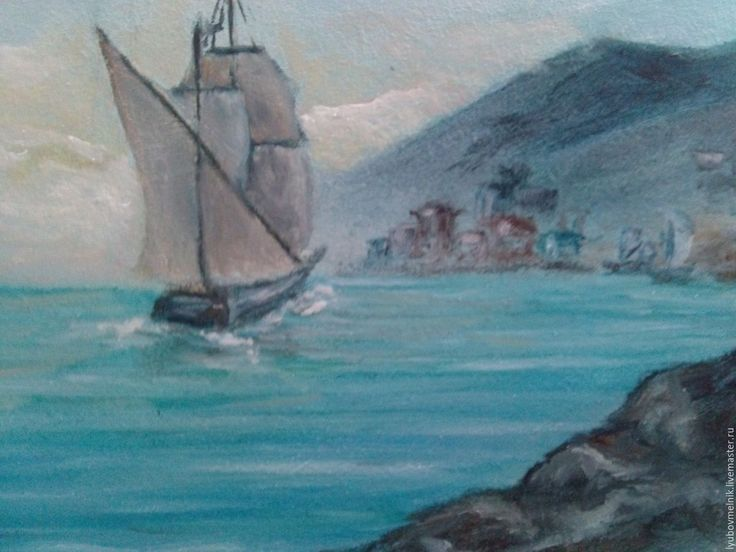 Купить Рыбацкая пристань 13х18 см - синий, море живопись, гавань маслом, море маслом