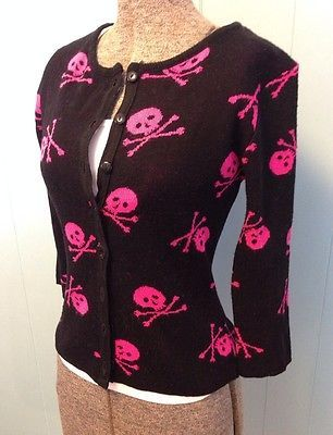 Serious Skull and Cross Bone Cardigan Sweater Small Punk Rockabilly Hot Topic | eBay