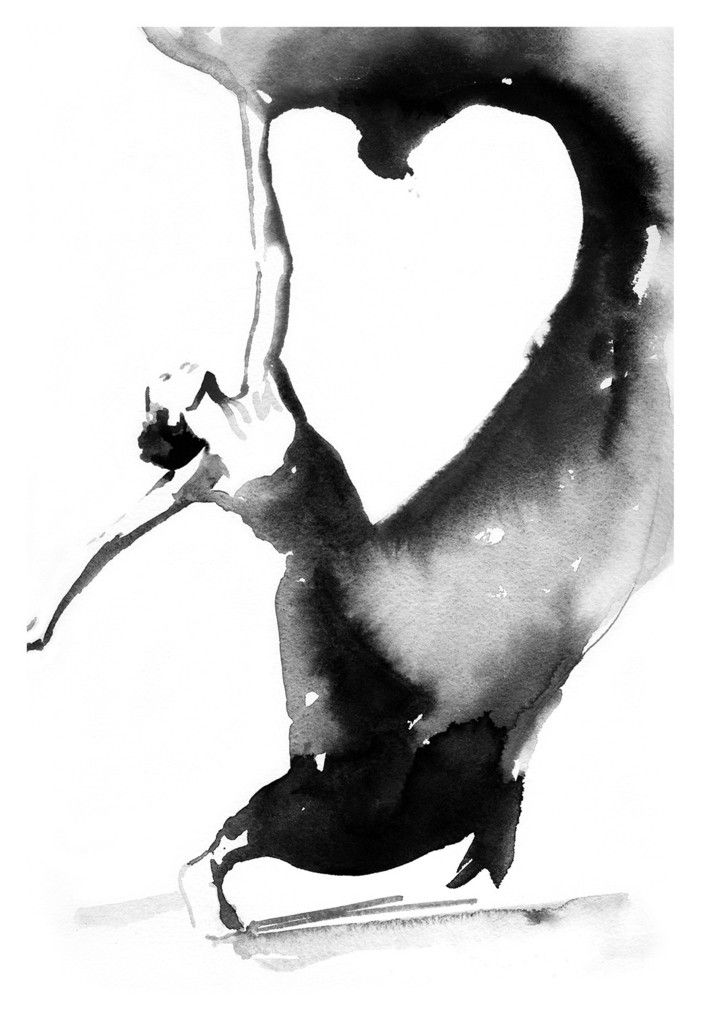 Black & White Dancer, Watercolor Dancer Illustration Print, Dancer Print