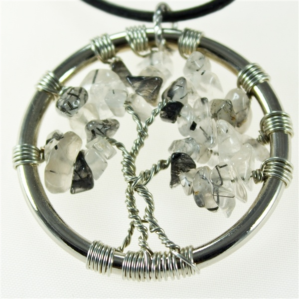 Tourmalated Quartz Tree of Life pendant with leather necklace  $35.00