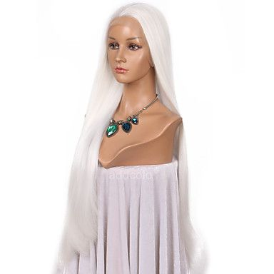 Women Synthetic Wig Lace Front Very Long Straight White Natural Hairline Lolita Wig Party Wig Halloween Wig Cosplay Wig Costume Wig 6236789 2017 – $49.99