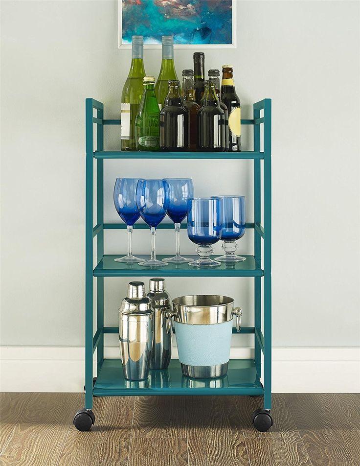 Amazon.com: Altra Marshall 3 Shelf Metal Rolling Utility Cart, Teal: Kitchen & Dining