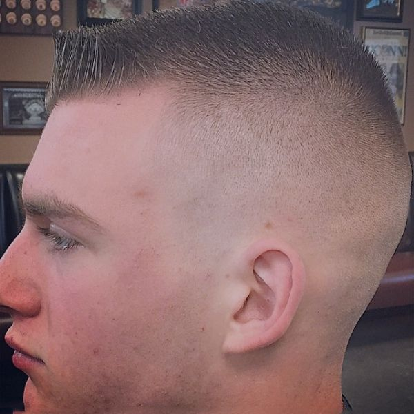 Medium Length Flattop With High Skin Fade, Side Shot