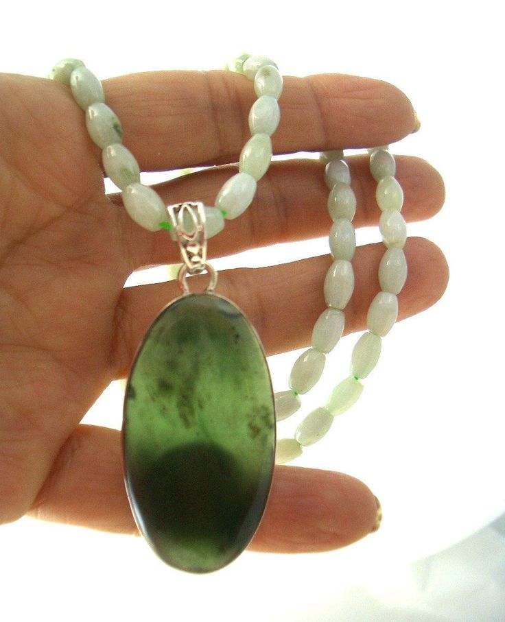 NATURAL Milky Green JADE Jadeite Gemstones Necklace with option of Purplish Agate and Bowenite (Canadian Jade) Sterling Silver Pendants! by AmeogemJewellery on Etsy