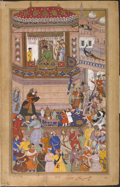 The general Husain Quli Khan Jahan is depicted here presenting prisoners to the Mughal emperor Akbar (r.1556–1605) in 1572, after the victorious military campaign in Gujarat, north-western India. ca. 1586 - ca. 1589 (made). Naqqash, Husain (artist, outline and painting, maker) Kesav (artist, portraits, maker) V&A