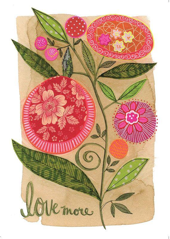 Amo más - impresión de GICLEE de 8 X 10, collage tipográfico, botánica, Susan Black