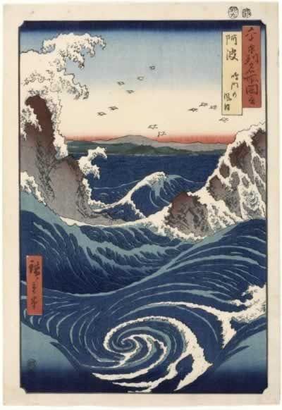 """Hiroshige O redemoinho Awa da série """"Vistas famosas de 60 e Tal Províncias"""". Esta imagem não mostra a maravilha dos tons de azul desta imagem no livro que li sobre este pintor japonês co o título: Hiroshige de Adele Schlombs. Ela defini-o como """"um azul profundo""""."""
