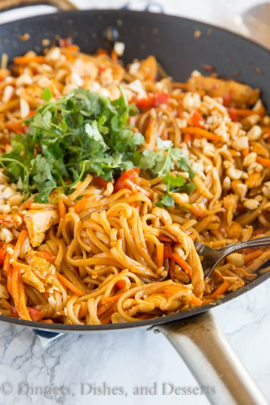 Spicy Thai Noodles with Chicken - a super quick and easy dinner that is on the table in minutes. Full of great Thai flavor with easy to find ingredients!