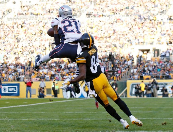 Patriots vs. Steelers:     October 23, 2016  -  27-16, Patriots  -     New England Patriots cornerback Malcolm Butler (21) intercepts a pass in the end zone intended for Pittsburgh Steelers wide receiver Antonio Brown (84) during the first half of an NFL football game in Pittsburgh, Sunday, Oct. 23, 2016.
