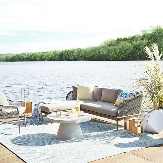 Huron Sofa, Gray/Seal at West Elm - Outdoor Sofa - Outdoor ...