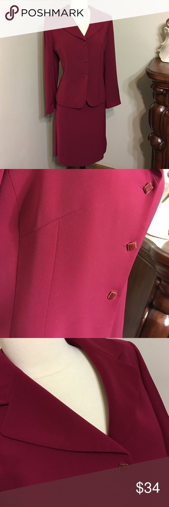 KASPER PETITE Size 16P Two piece Suit Cherry Red Beautiful,Good condition,Fits perfect to size Kasper Jackets & Coats