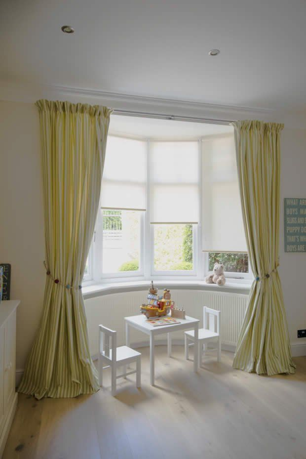 Dressing a bay window by combining curtains and roller blinds dressing a bay window by combining curtains and roller blinds creating a simple elegance window design ideas pinterest simple elegance sisterspd