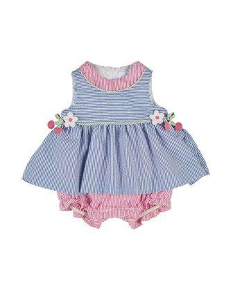 Striped Seersucker Play Dress, Blue/Pink, Size 3-18 Months by Florence Eiseman at Neiman Marcus.