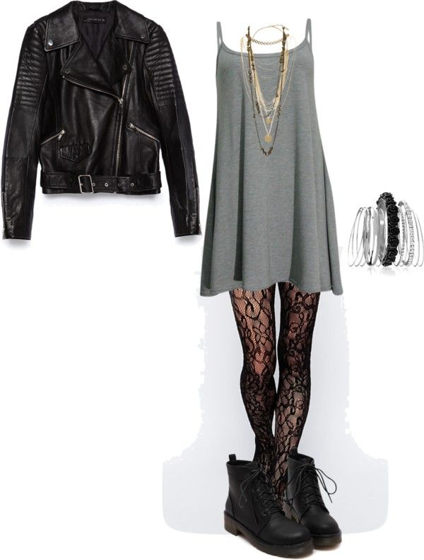 inspired outfit for a 21 pilots concert by effy-stonem-style featuring chanel jewelry Swing dress, 235 BRL / Zara black leather jacket, 725 BRL / Gipsy lace stocking, 52 BRL / Black ankle booties, 155...