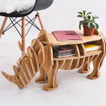 Fábrica LIBRE del envío al por mayor Europea DIY Arte Artesanías Casa Decoración de regalo de madera del arte de Rinoceronte escritorio auto-construcción rompecabezas muebles(China (Mainland))