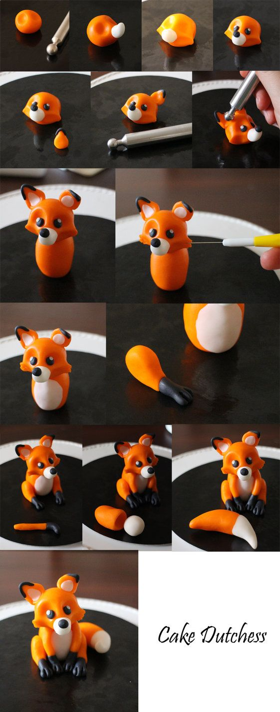 Little edible fox step by step, made with sugarpaste www.facebook.com/WeddingCakesU…