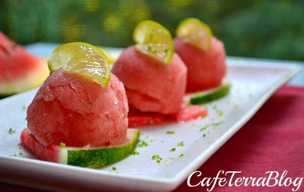 watermelon sorbet: No Ice Cream machine required. For a more natural taste reduce the sugar 1/2 cup. Yummy summer treat.