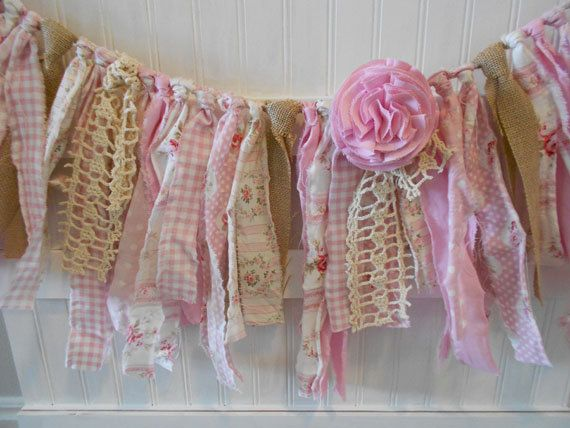 Vintage Burlap Doily Wedding Torn Fabric Garland / Banner /Shabby Chic/ Rag Tie Garland  /Baby Shower/Birthday / Nursery / pink-6 ft