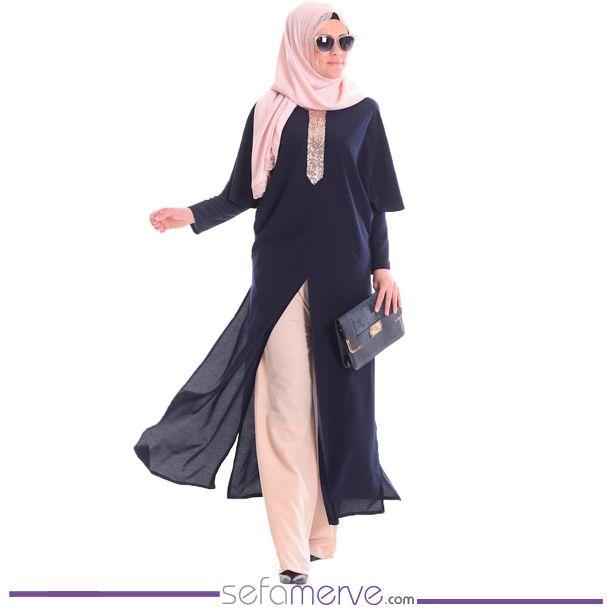 Tesettür Tulum Elbise 52405-04 Lacivert... Kargo BİZDEN! #sefamerve #tesetturgiyim #tesettur #hijab #tesettür