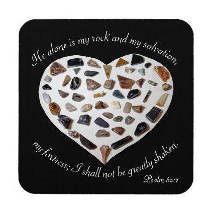 Rock of My Salvation Bible Verse Blackl Coasters -nature diy customize sprecial design
