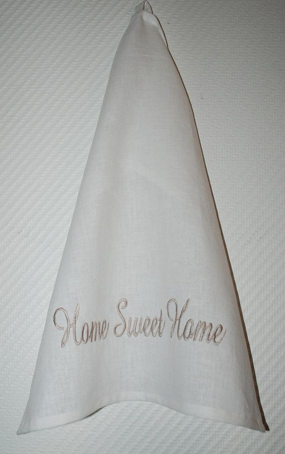 White Home Sweet Home kitchen towel, tea towel, linen towel, shabby chic