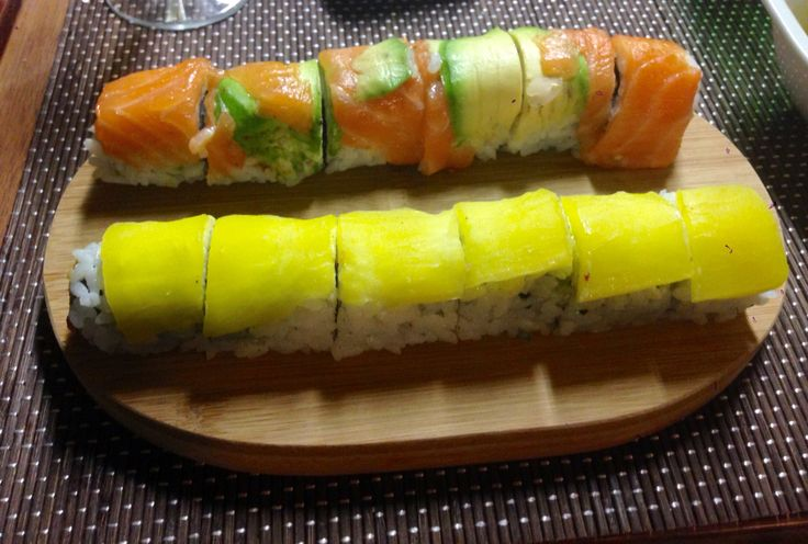 Yellow & rainbow roll