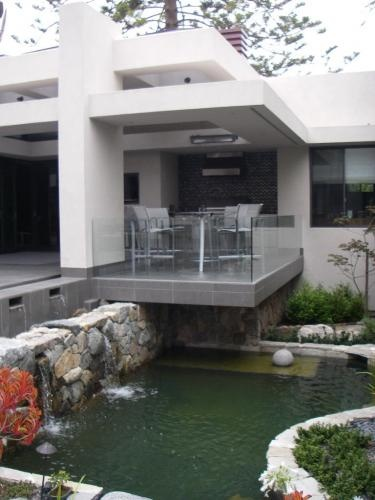 covered patio overlooking koi pond?
