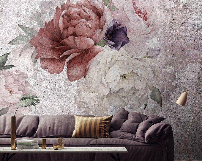 Floral Tapete Blumen Von Einem Schwarzen Hintergrund Temporare