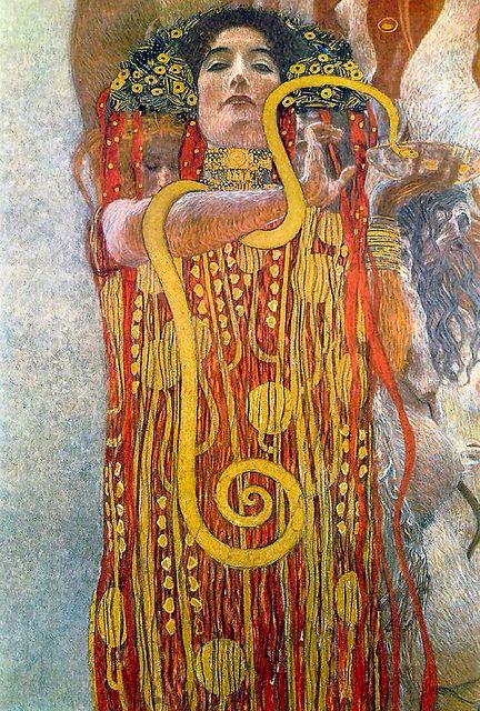Gustav Klimt - La partie basse de la Médecine, montrant la déesse Hygie