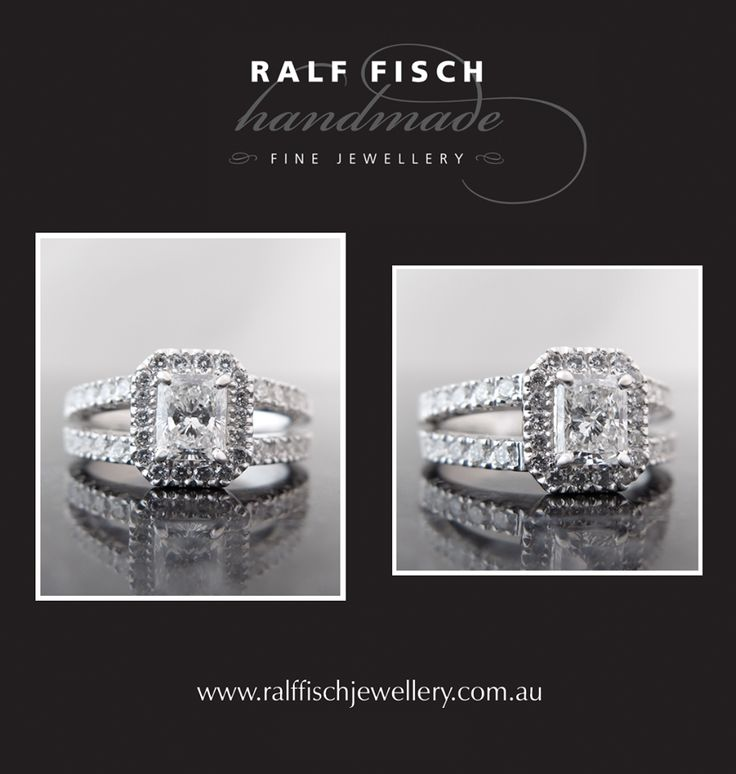 18ct white gold hand crafted cluster engagement ring with a premium radiant cut centre diamond and smaller round brilliant cut diamonds. The split band on this piece definitely bumps up the 'bling' factor