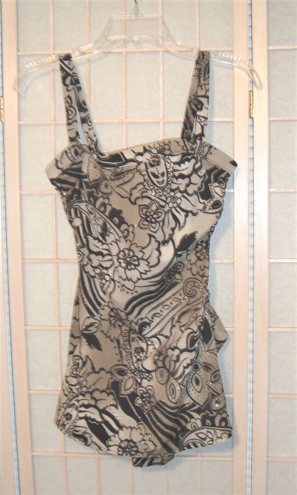 Nice Sz 14 Women's Black & Tan Pin Up Look One Piece Swimsuit W/ Skirt Front  #Unbranded #OnePiece