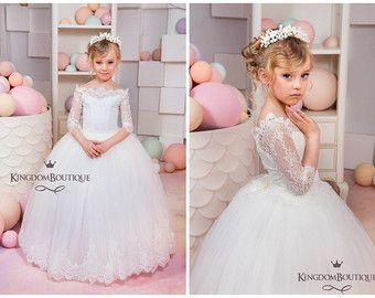 Marfil flores vestido de niña - boda Holiday dama fiesta cumpleaños niña de las flores marfil encaje tul 15-005