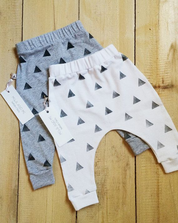 Baby | toddler leggings | harems | harem pants, made with cotton knit fabric.  The fabric is pre-washed and hand stamped with non-toxic permanent water
