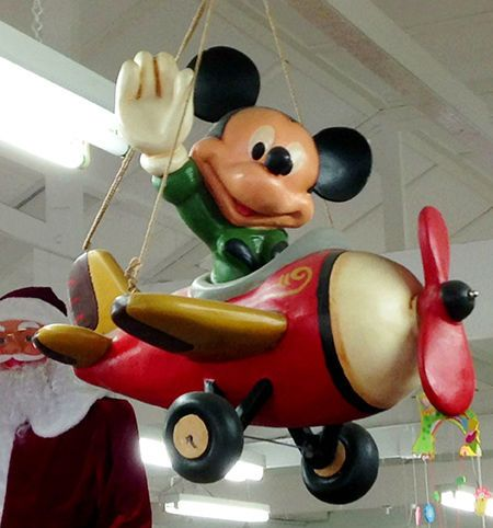 Disney Vintage Mickey Mouse Airplane Hanging Resin Statue Figure Collectable