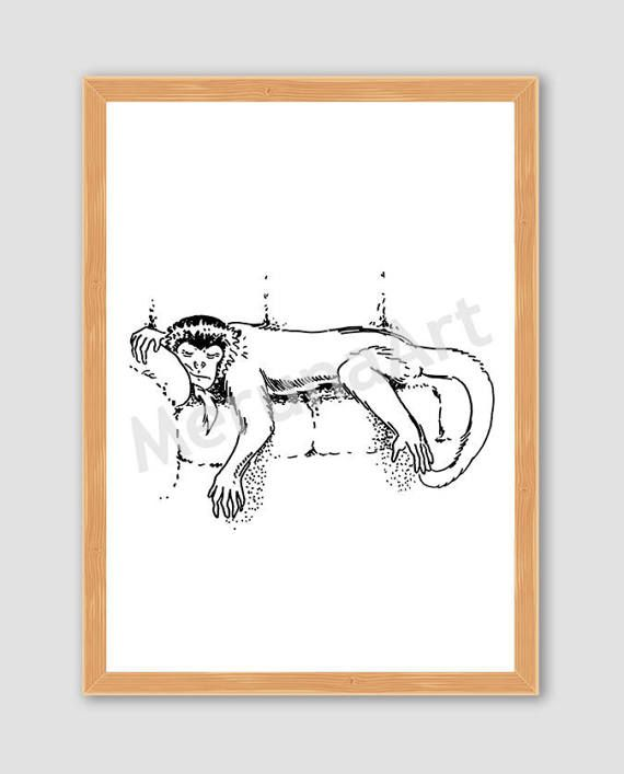Sleeping Monkey Drawing Download Printable Art by MerunaArt #monkey #drawing #sleeping #lazy #art #illustration