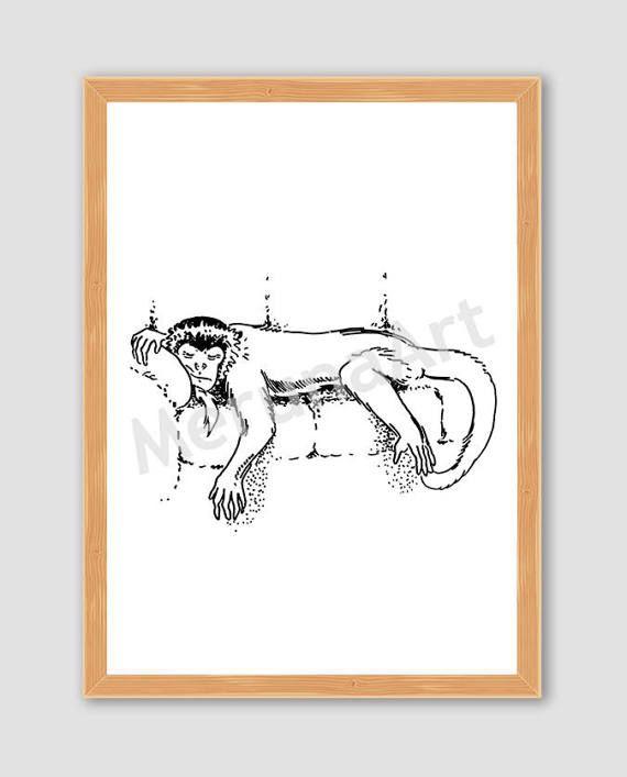 Sleeping Monkey Drawing Download Printable Art by MerunaArt #monkey #drawing #sleeping #lazy #art #illustration