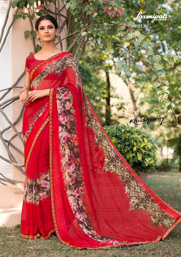 Looking for multicolor #georgette #floral #printedsaree and red pashmina blouse along with satin jacquard lace border in India? #Laxmipatisaree is your one stop shop for all kinds of designer printed_sarees. Catalogue-KHUSHRANG Price -₹1642.00 Design Number-4563