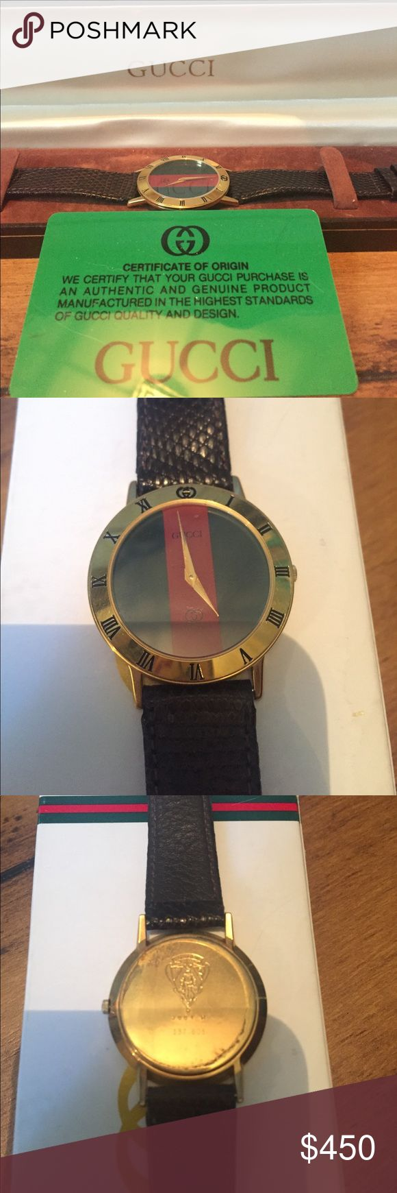 Authentic Vintage Gucci Watch This piece is in great condition, although it's about time to change the battery. It comes with all the original packaging, as well as a certificate of origin and authenticity. Gucci Accessories Watches