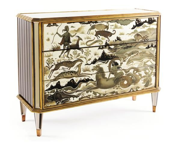 Incredible Art Deco Eglomise. The Diana credenza by Jean de Merry