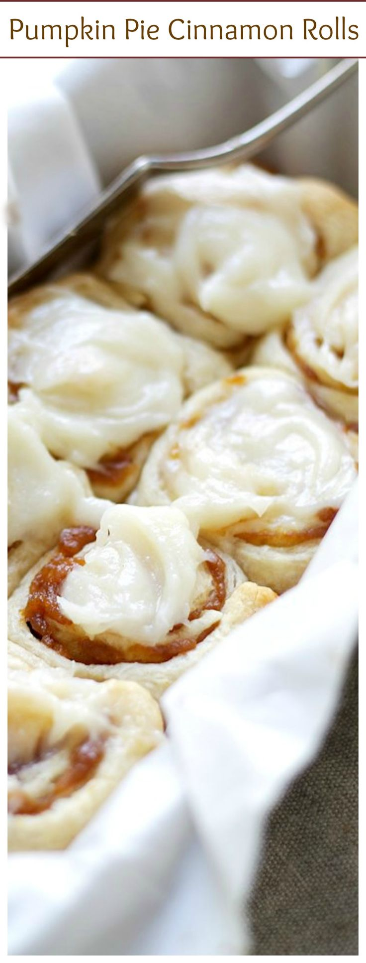 Pumpkin Pie Cinnamon Rolls in 30-Minutes made with a delicious pumpkin filling and an incredible pumpkin pie spice cream cheese frosting! | #recipe #cinnamonrolls #pumpkin