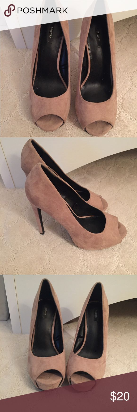 Forever 21 peep toe heels, size 9 Peep toe heels. Tan suede. Very neutral and season less style. Worn once. Excellent condition! Forever 21 Shoes Heels