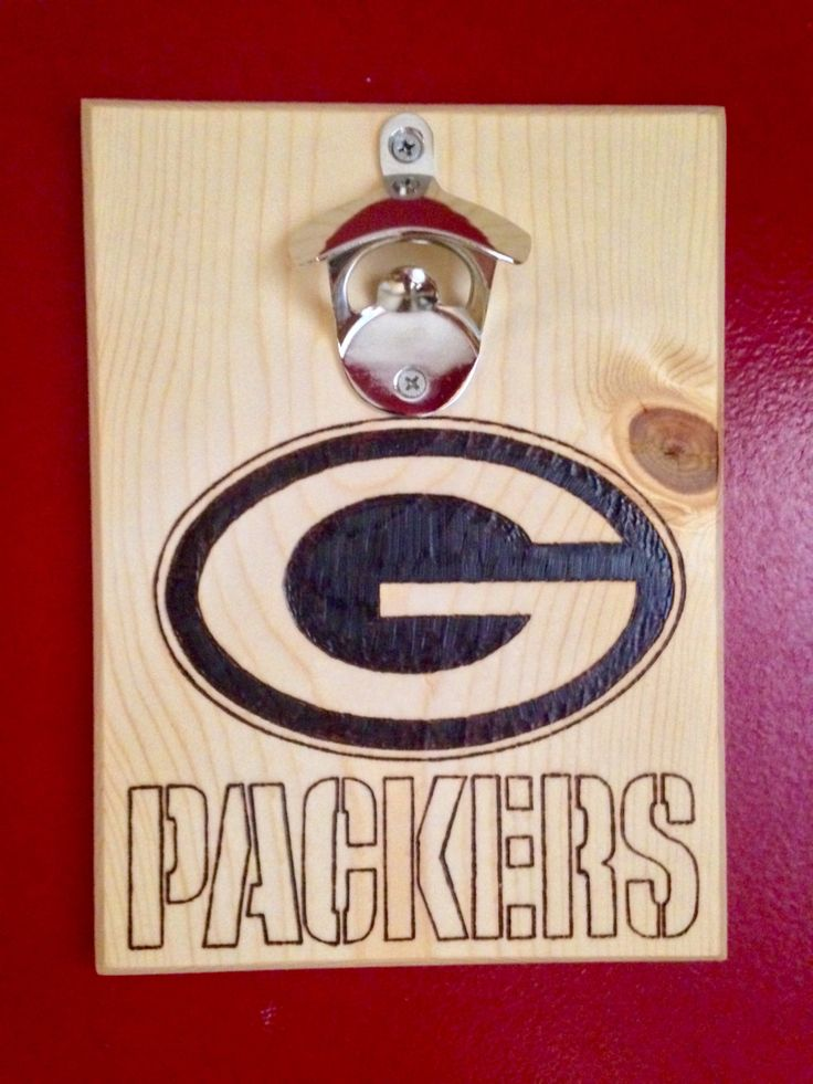 Green bay packers wood burned bottle opener wall mounted w magnetic cap