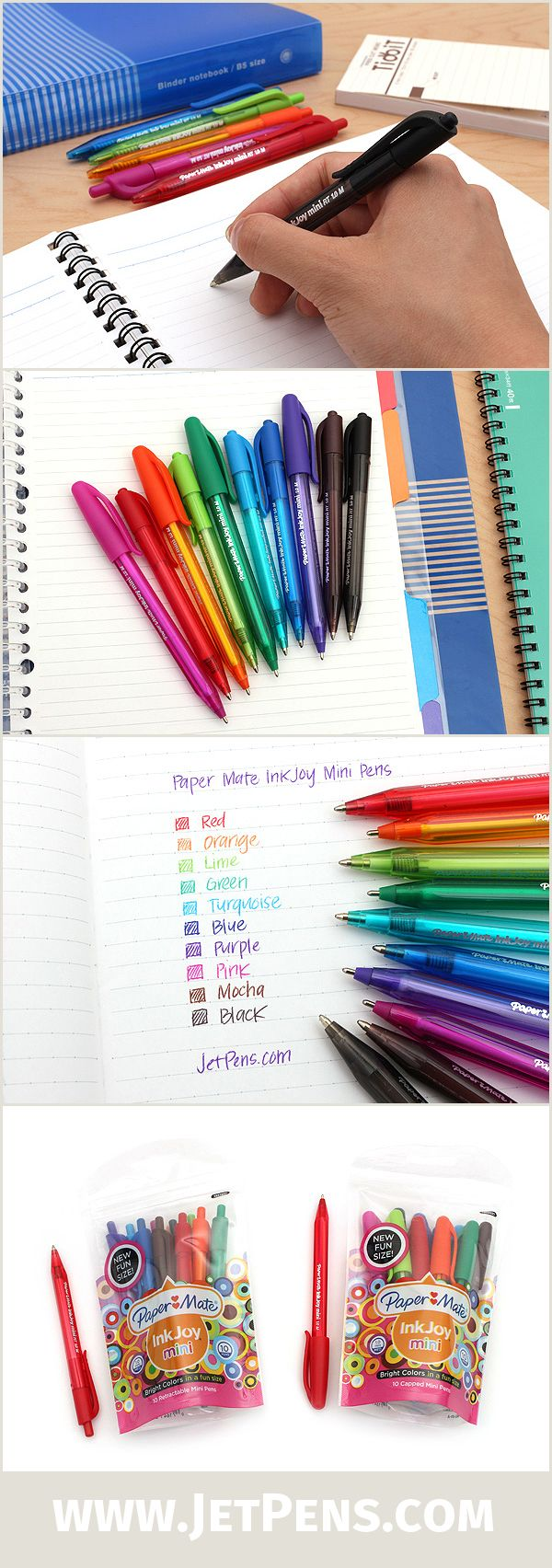 The new Paper Mate Inkjoy Mini Ballpoint Pen Sets are easy to toss into a bag or backpack, allowing you to carry 10 vibrant ink colors in a portable, convenient way.