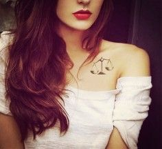 collar bone / shoulder tattoo libra sign