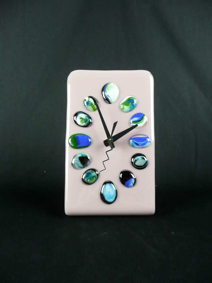 Fused Glass Clock! Each stone was hand picked by the customer - created a beautiful array of colors and patterns in each one.