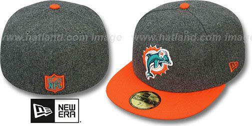 Dolphins '2T NFL MELTON-BASIC' Grey-Orange Fitted Hat by New Era on hatland.com