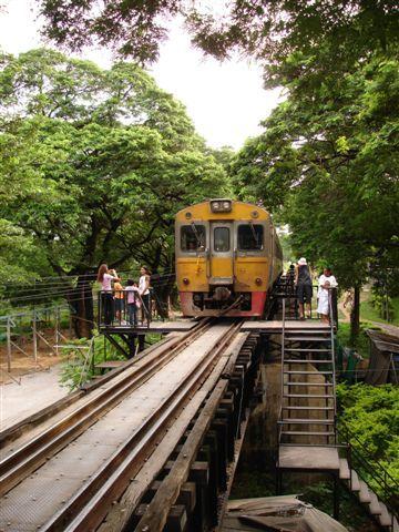 Train over the River Kwai at Kanchanaburi in Thailand